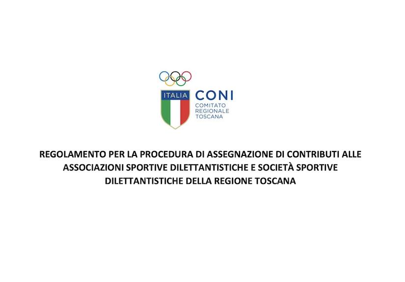 IDiffusione Regolamento per l'assegnazione di contributi CONI alle ASD a sostegno della ripresa delle attività sportive